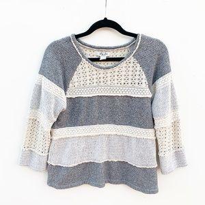 Lucky Lotus Crochet Stripe Pullover Sweatshirt